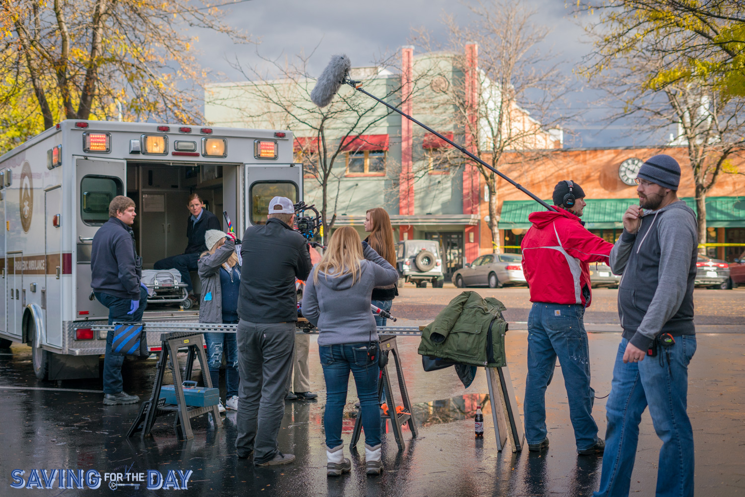 Film cast & crew shooting scene in the zombie segment of Saving For The Day in downtown Missoula Montana