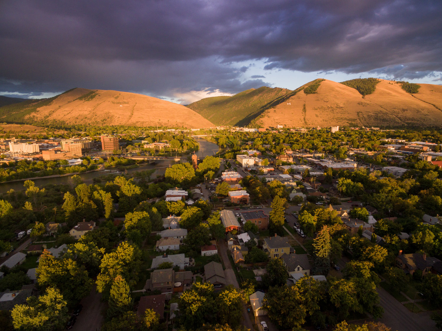 Aerial photo of Hellgate & Downtown Missoula